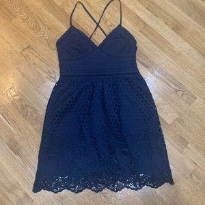 Gorgeous spaghetti strap lace navy dress